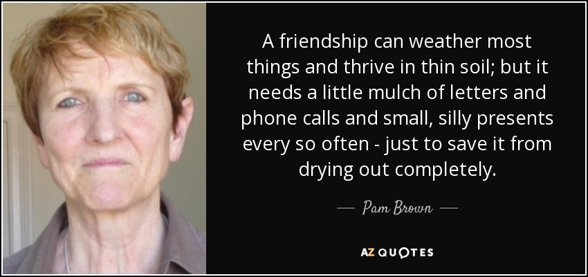 A friendship can weather most things and thrive in thin soil; but it needs a little mulch of letters and phone calls and small, silly presents every so often - just to save it from drying out completely. - Pam Brown