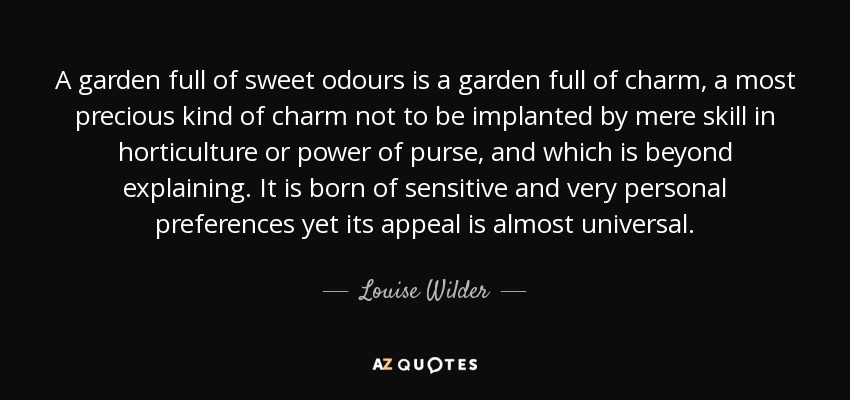 A garden full of sweet odours is a garden full of charm, a most precious kind of charm not to be implanted by mere skill in horticulture or power of purse, and which is beyond explaining. It is born of sensitive and very personal preferences yet its appeal is almost universal. - Louise Wilder