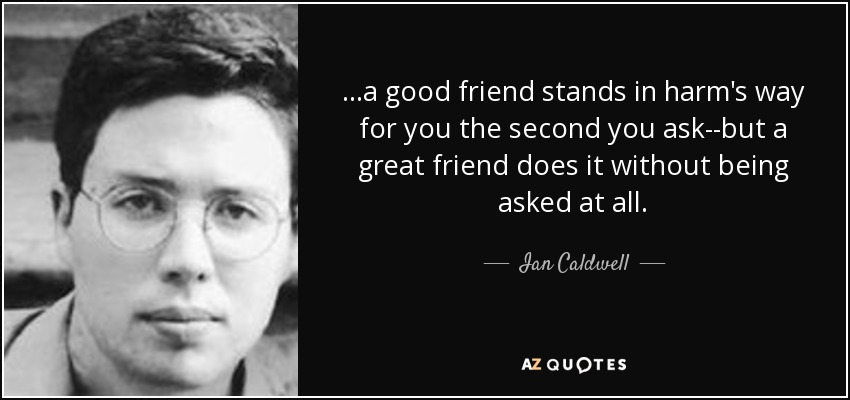 ...a good friend stands in harm's way for you the second you ask--but a great friend does it without being asked at all. - Ian Caldwell