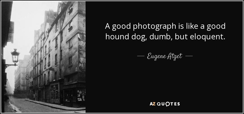 A good photograph is like a good hound dog, dumb, but eloquent. - Eugene Atget