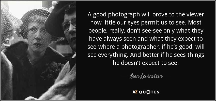 A good photograph will prove to the viewer how little our eyes permit us to see. Most people, really, don't see-see only what they have always seen and what they expect to see-where a photographer, if he's good, will see everything. And better if he sees things he doesn't expect to see. - Leon Levinstein
