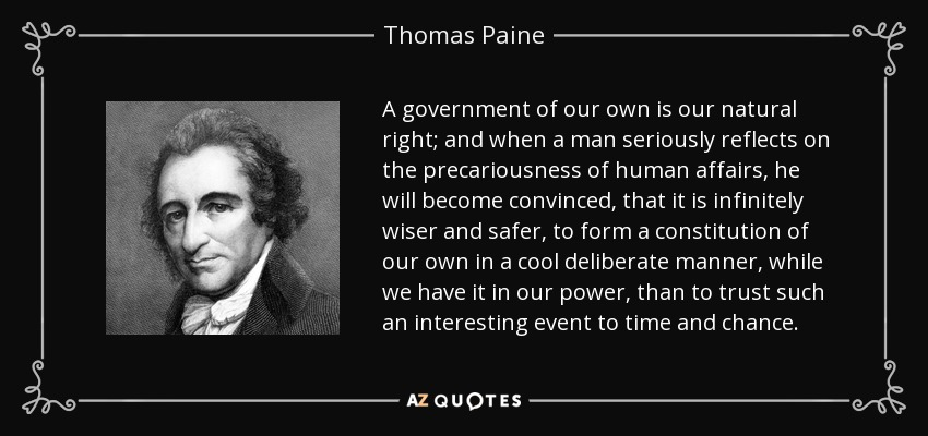 an opinion on thomas paines views on government monarchy and future