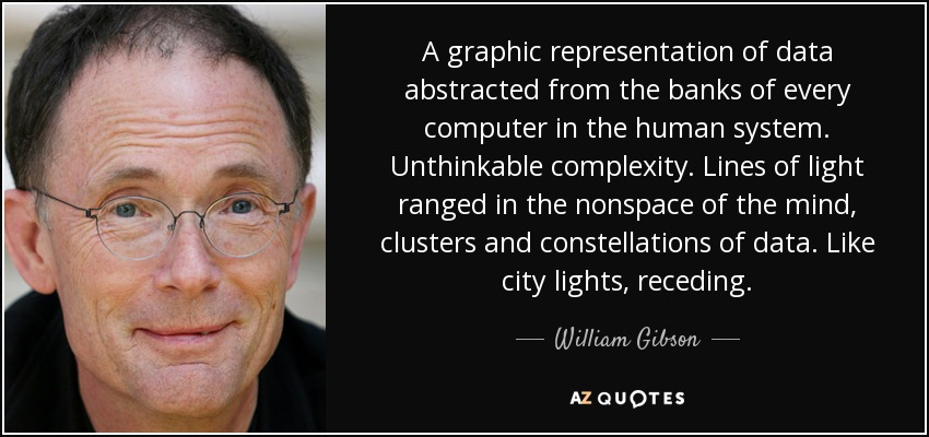 A graphic representation of data abstracted from the banks of every computer in the human system. Unthinkable complexity. Lines of light ranged in the nonspace of the mind, clusters and constellations of data. Like city lights, receding. - William Gibson