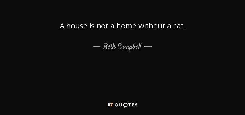Beth Campbell Quote A House Is Not A Home Without A Cat