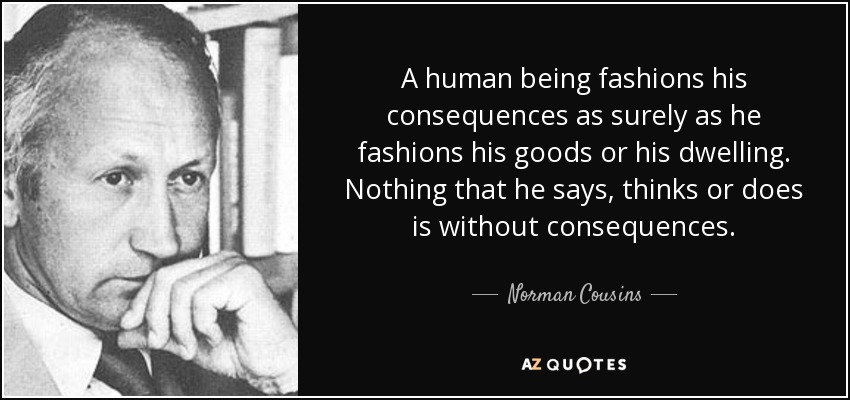 A human being fashions his consequences as surely as he fashions his goods or his dwelling. Nothing that he says, thinks or does is without consequences. - Norman Cousins