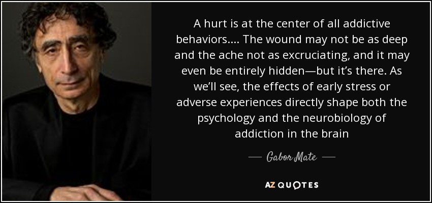 A hurt is at the center of all addictive behaviors. . . . The wound may not be as deep and the ache not as excruciating, and it may even be entirely hidden—but it's there. As we'll see, the effects of early stress or adverse experiences directly shape both the psychology and the neurobiology of addiction in the brain - Gabor Mate