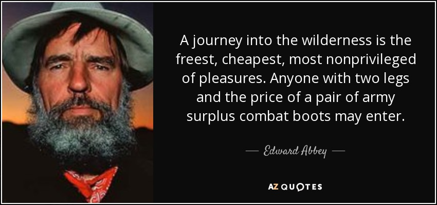 A journey into the wilderness is the freest, cheapest, most nonprivileged of pleasures. Anyone with two legs and the price of a pair of army surplus combat boots may enter. - Edward Abbey