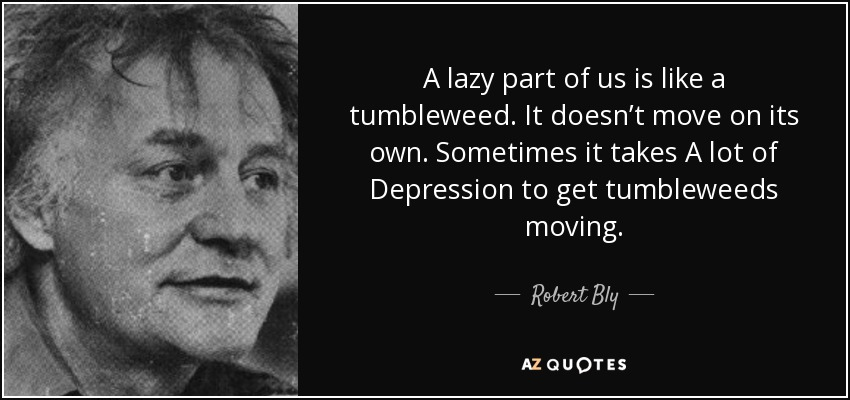 A lazy part of us is like a tumbleweed. It doesn't move on its own. Sometimes it takes A lot of Depression to get tumbleweeds moving. - Robert Bly