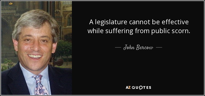 A legislature cannot be effective while suffering from public scorn. - John Bercow