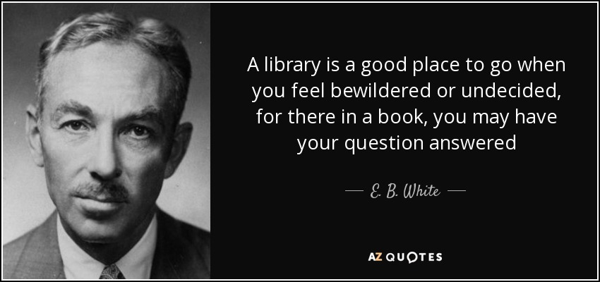 A library is a good place to go when you feel bewildered or undecided, for there in a book, you may have your question answered - E. B. White