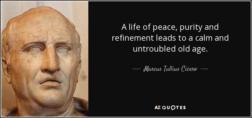 A life of peace, purity and refinement leads to a calm and untroubled old age. - Marcus Tullius Cicero