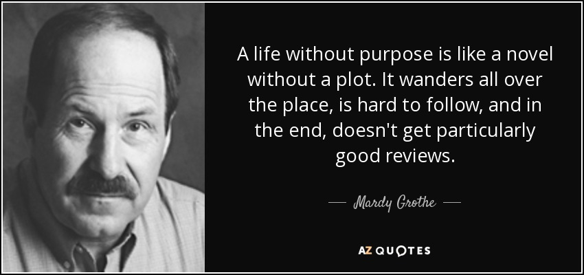 A life without purpose is like a novel without a plot. It wanders all over the place, is hard to follow, and in the end, doesn't get particularly good reviews. - Mardy Grothe