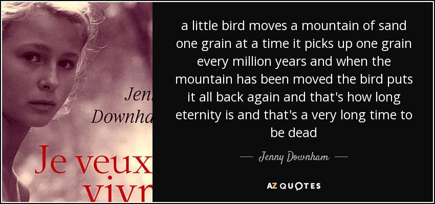 a little bird moves a mountain of sand one grain at a time it picks up one grain every million years and when the mountain has been moved the bird puts it all back again and that's how long eternity is and that's a very long time to be dead - Jenny Downham