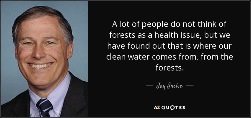 A lot of people do not think of forests as a health issue, but we have found out that is where our clean water comes from, from the forests. - Jay Inslee