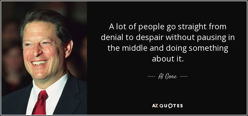 A lot of people go straight from denial to despair without pausing in the middle and doing something about it. - Al Gore
