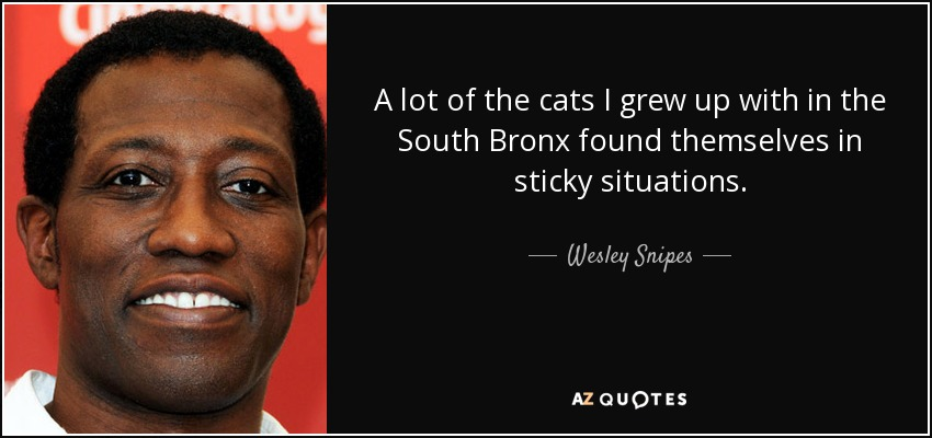 A lot of the cats I grew up with in the South Bronx found themselves in sticky situations. - Wesley Snipes