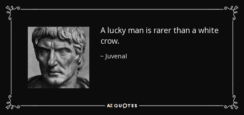 A lucky man is rarer than a white crow. - Juvenal