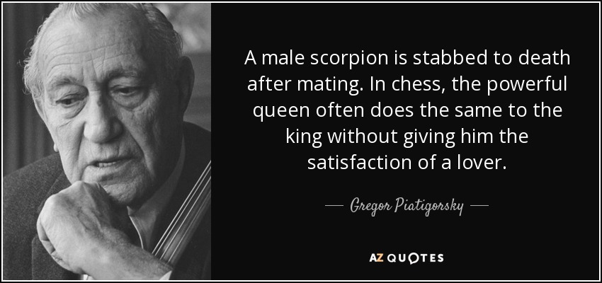 A male scorpion is stabbed to death after mating. In chess, the powerful queen often does the same to the king without giving him the satisfaction of a lover. - Gregor Piatigorsky