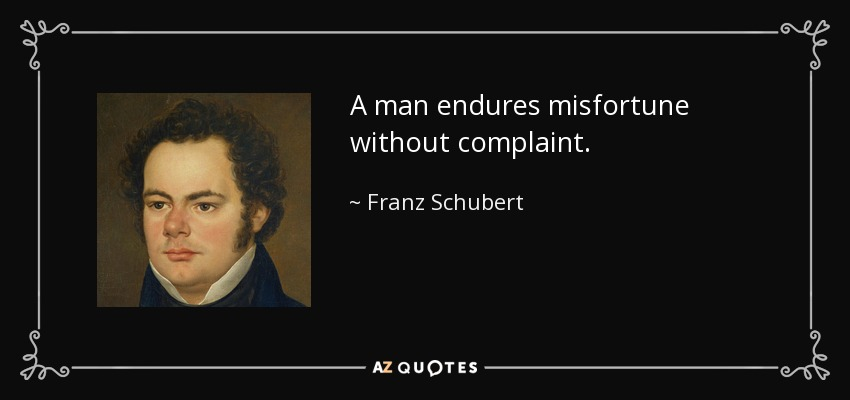 A man endures misfortune without complaint. - Franz Schubert