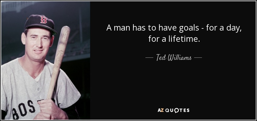 A man has to have goals - for a day, for a lifetime. - Ted Williams