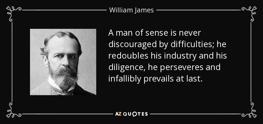 A man of sense is never discouraged by difficulties; he redoubles his industry and his diligence, he perseveres and infallibly prevails at last. - William James