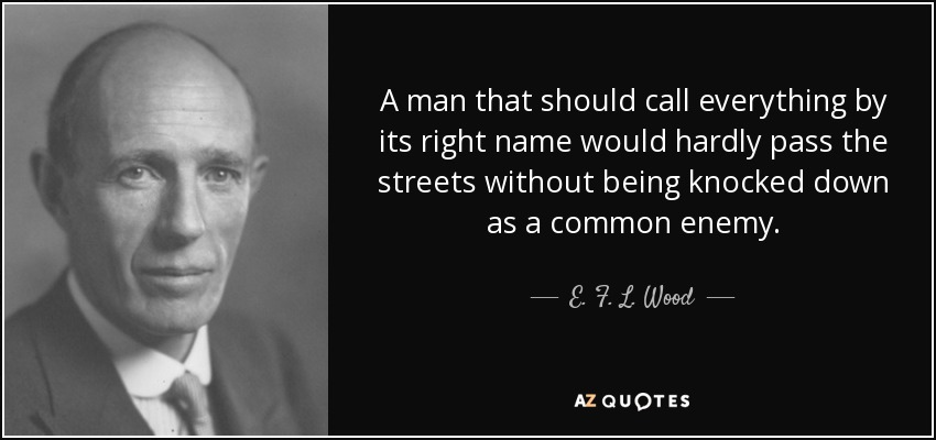 A man that should call everything by its right name would hardly pass the streets without being knocked down as a common enemy. - E. F. L. Wood, 1st Earl of Halifax
