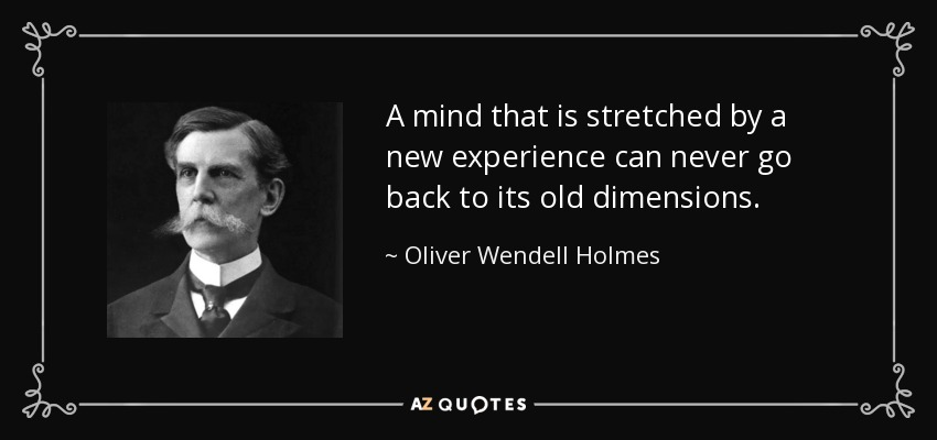 A mind that is stretched by a new experience can never go back to its old dimensions. - Oliver Wendell Holmes, Jr.