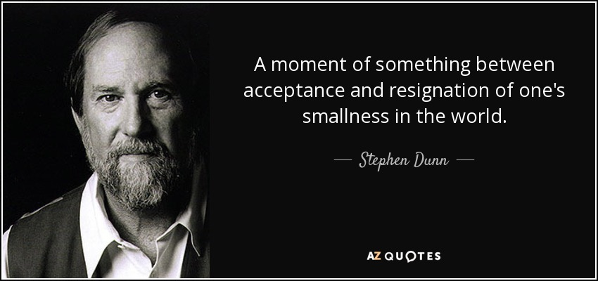 A moment of something between acceptance and resignation of one's smallness in the world. - Stephen Dunn