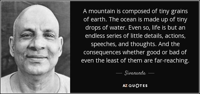 A mountain is composed of tiny grains of earth. The ocean is made up of tiny drops of water. Even so, life is but an endless series of little details, actions, speeches, and thoughts. And the consequences whether good or bad of even the least of them are far-reaching. - Sivananda