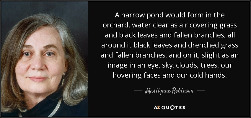 A narrow pond would form in the orchard, water clear as air covering grass and black leaves and fallen branches, all around it black leaves and drenched grass and fallen branches, and on it, slight as an image in an eye, sky, clouds, trees, our hovering faces and our cold hands. - Marilynne Robinson