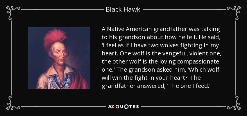 A Native American grandfather was talking to his grandson about how he felt. He said, 'I feel as if I have two wolves fighting in my heart. One wolf is the vengeful, violent one, the other wolf is the loving compassionate one.' The grandson asked him, 'Which wolf will win the fight in your heart?' The grandfather answered, 'The one I feed.' - Black Hawk