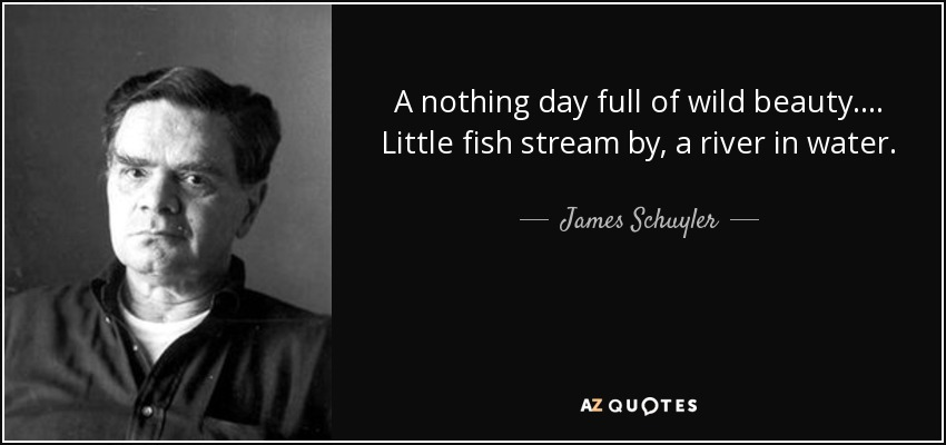 A nothing day full of wild beauty .... Little fish stream by, a river in water. - James Schuyler