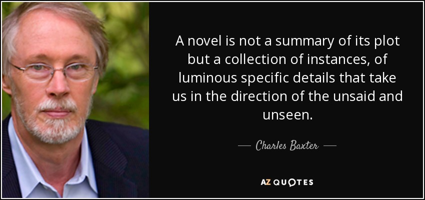 A novel is not a summary of its plot but a collection of instances, of luminous specific details that take us in the direction of the unsaid and unseen. - Charles Baxter