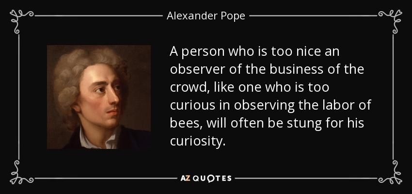 A person who is too nice an observer of the business of the crowd, like one who is too curious in observing the labor of bees, will often be stung for his curiosity. - Alexander Pope