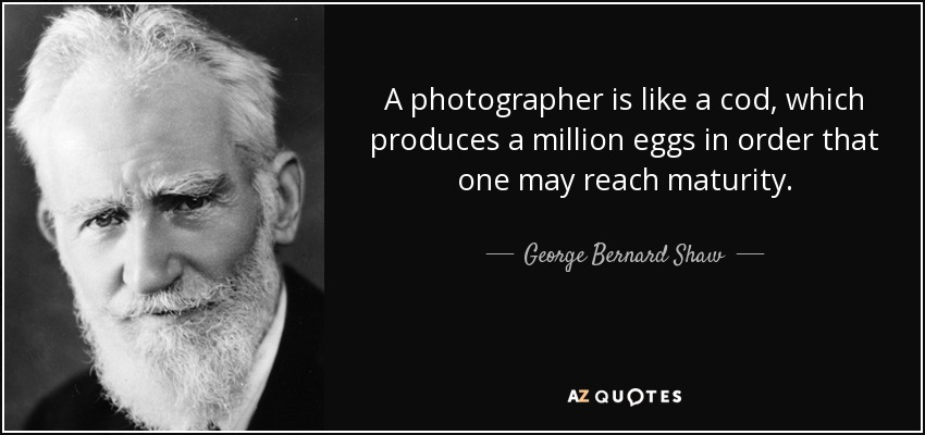 A photographer is like a cod, which produces a million eggs in order that one may reach maturity. - George Bernard Shaw