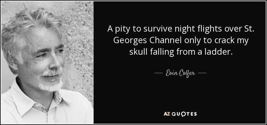 A pity to survive night flights over St. Georges Channel only to crack my skull falling from a ladder. - Eoin Colfer