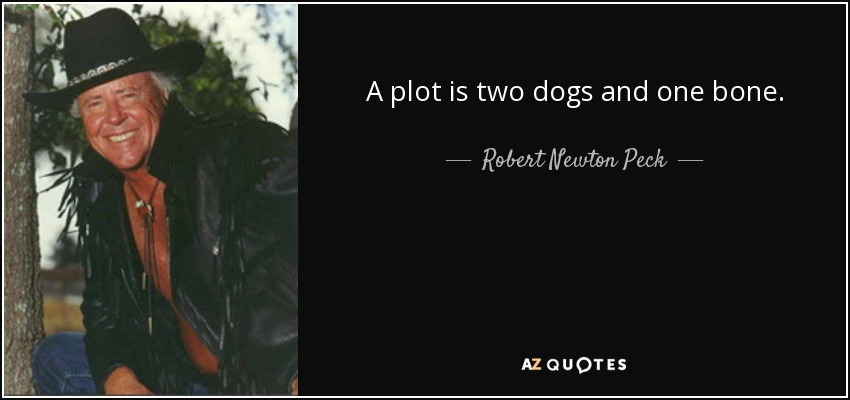 A plot is two dogs and one bone. - Robert Newton Peck