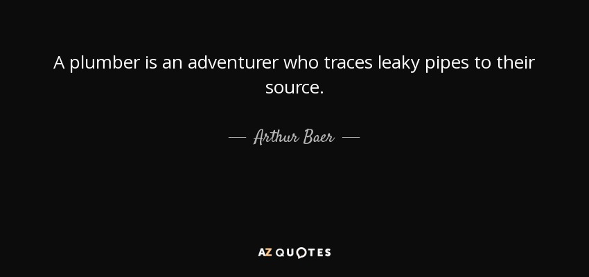 A plumber is an adventurer who traces leaky pipes to their source. - Arthur Baer