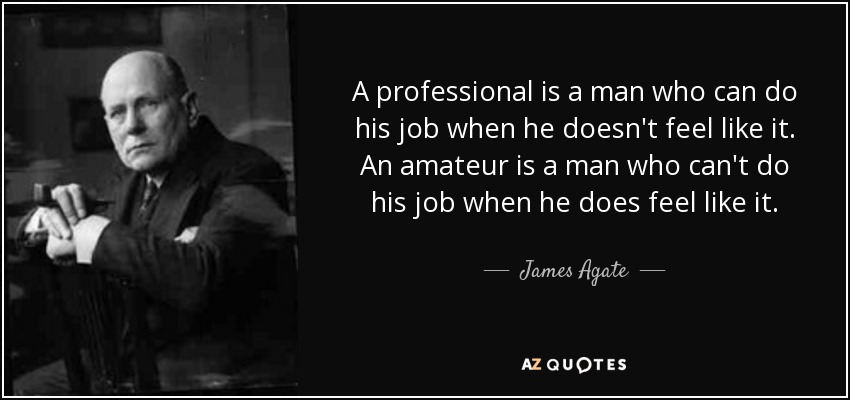 A professional is a man who can do his job when he doesn't feel like it. An amateur is a man who can't do his job when he does feel like it. - James Agate