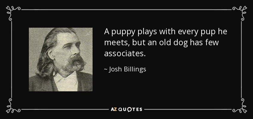 A puppy plays with every pup he meets, but an old dog has few associates. - Josh Billings