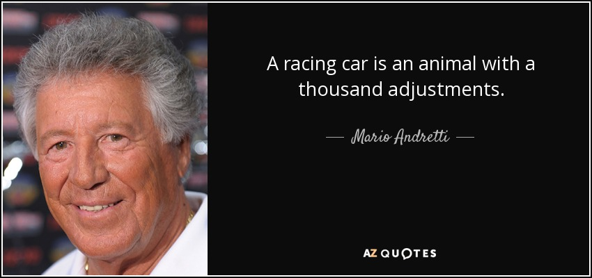 A racing car is an animal with a thousand adjustments. - Mario Andretti