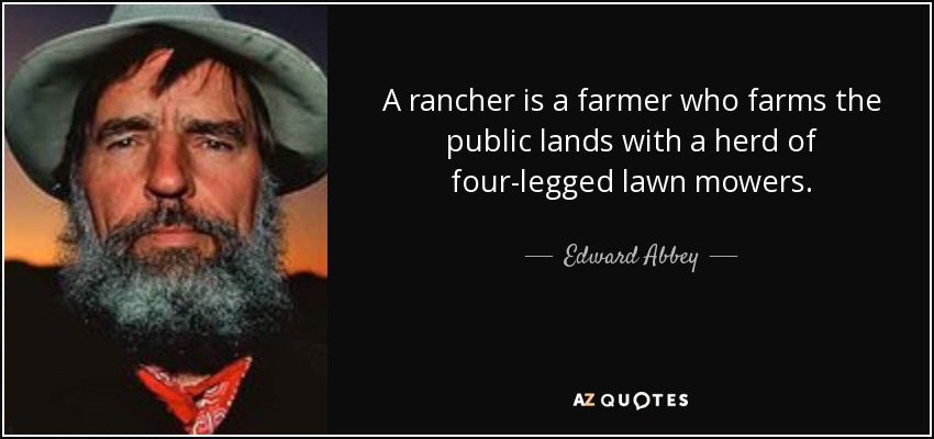 A rancher is a farmer who farms the public lands with a herd of four-legged lawn mowers. - Edward Abbey