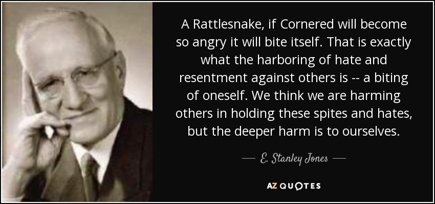 A Rattlesnake, if Cornered will become so angry it will bite itself. That is exactly what the harboring of hate and resentment against others is -- a biting of oneself. We think we are harming others in holding these spites and hates, but the deeper harm is to ourselves. - E. Stanley Jones