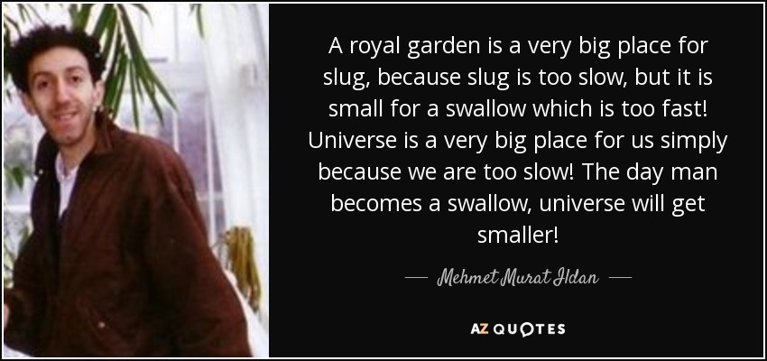 A royal garden is a very big place for slug, because slug is too slow, but it is small for a swallow which is too fast! Universe is a very big place for us simply because we are too slow! The day man becomes a swallow, universe will get smaller! - Mehmet Murat Ildan