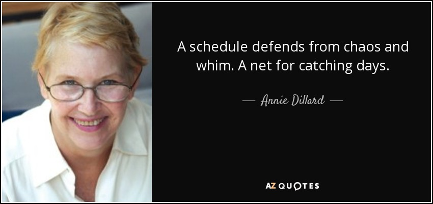 A schedule defends from chaos and whim. A net for catching days. - Annie Dillard