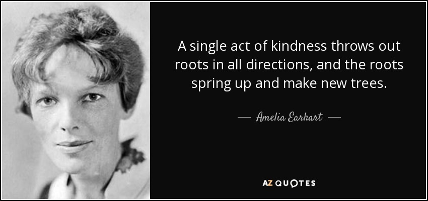 A single act of kindness throws out roots in all directions, and the roots spring up and make new trees. - Amelia Earhart
