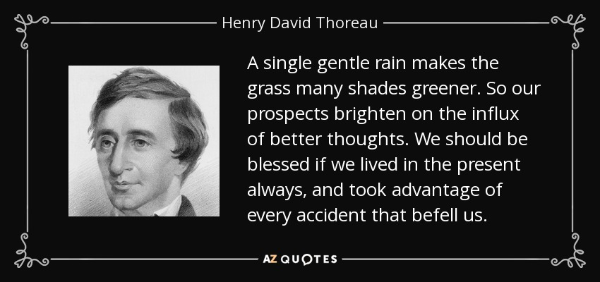 A single gentle rain makes the grass many shades greener. So our prospects brighten on the influx of better thoughts. We should be blessed if we lived in the present always, and took advantage of every accident that befell us. - Henry David Thoreau