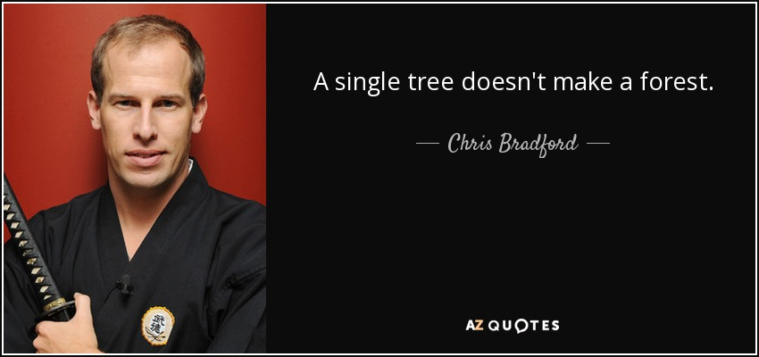A single tree doesn't make a forest. - Chris Bradford