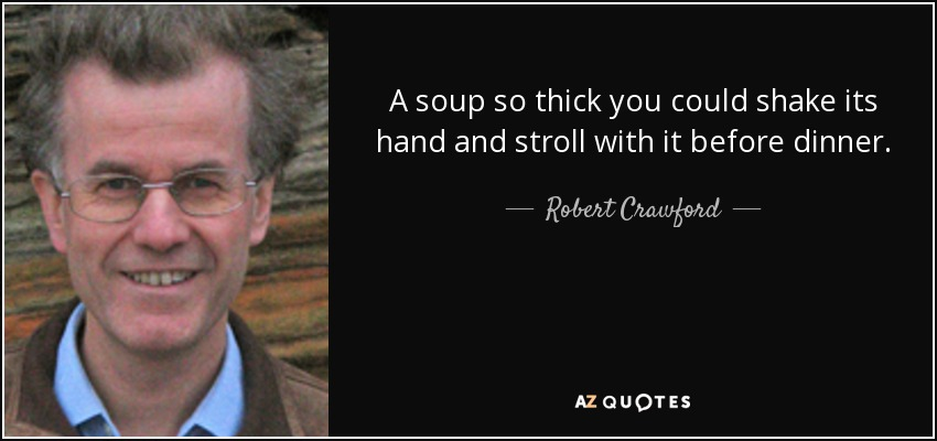 A soup so thick you could shake its hand and stroll with it before dinner. - Robert Crawford