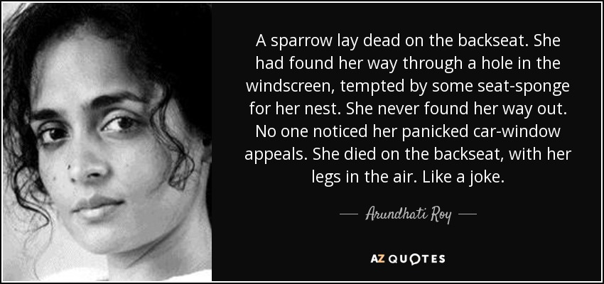 A sparrow lay dead on the backseat. She had found her way through a hole in the windscreen, tempted by some seat-sponge for her nest. She never found her way out. No one noticed her panicked car-window appeals. She died on the backseat, with her legs in the air. Like a joke. - Arundhati Roy